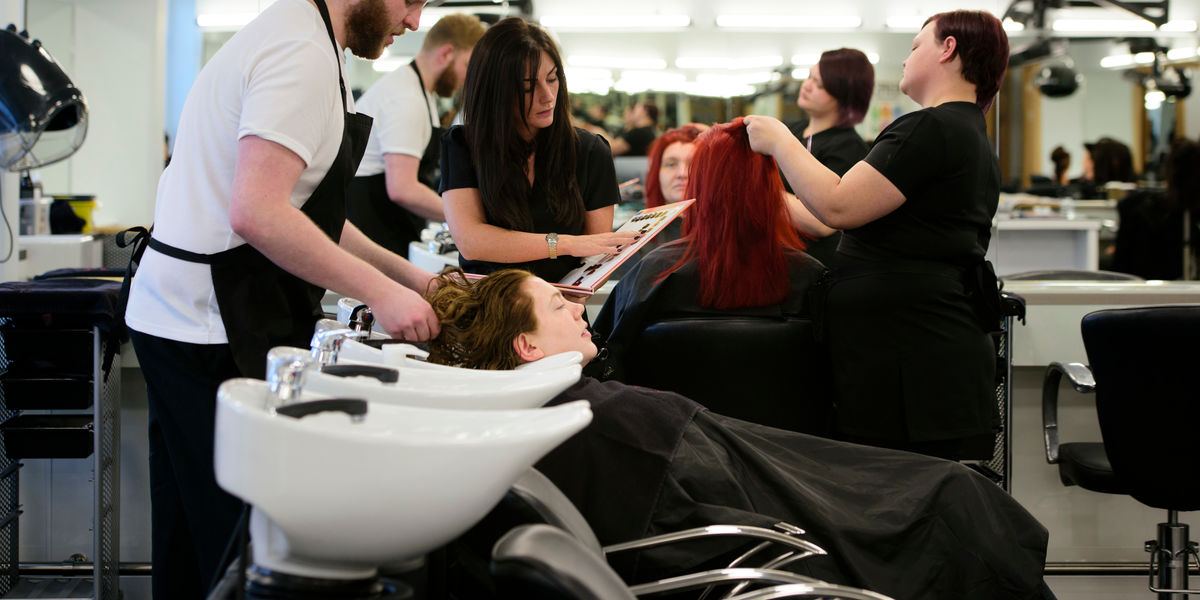 Hairdressing Students In Salon