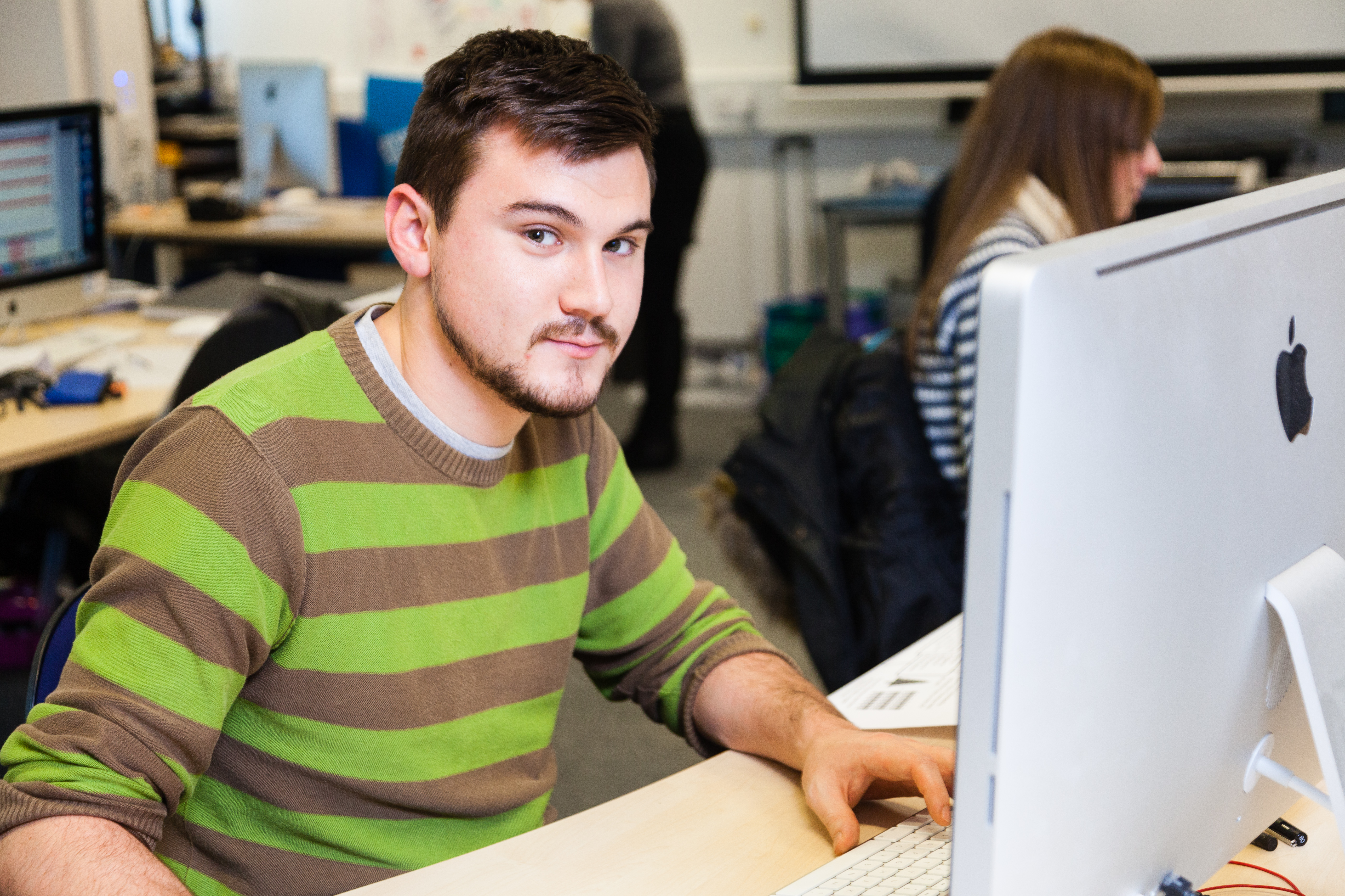 CAD Student Using Computer