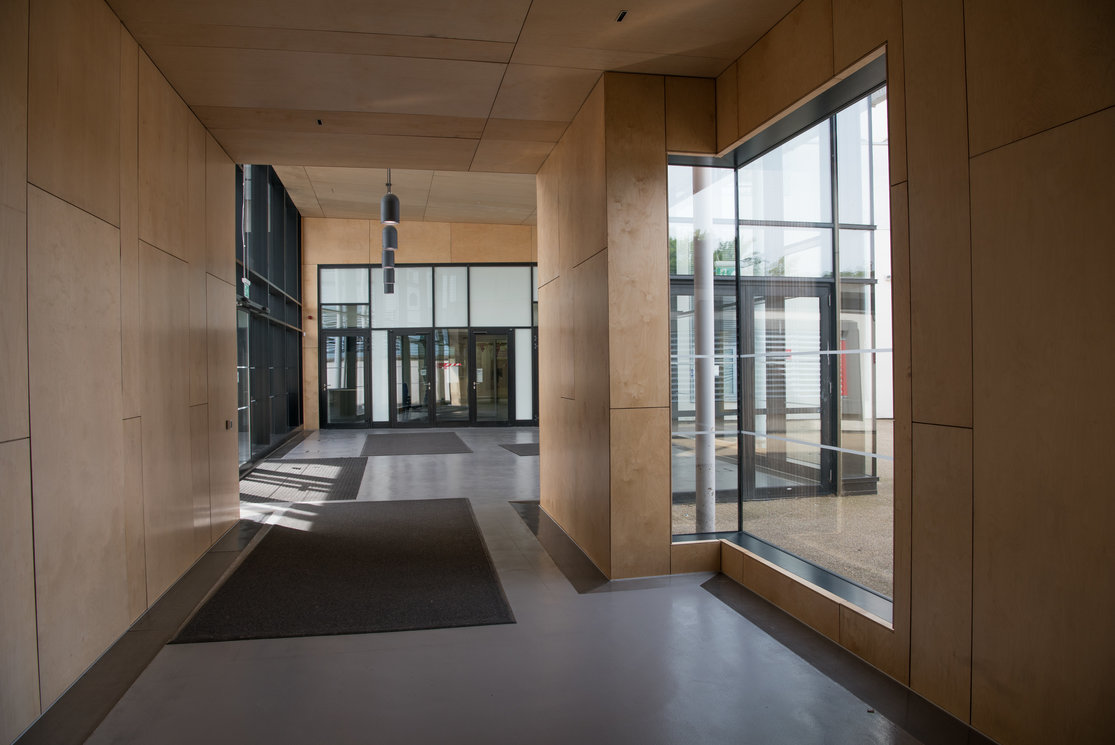Cardonald modern wood and glass corridor gallery