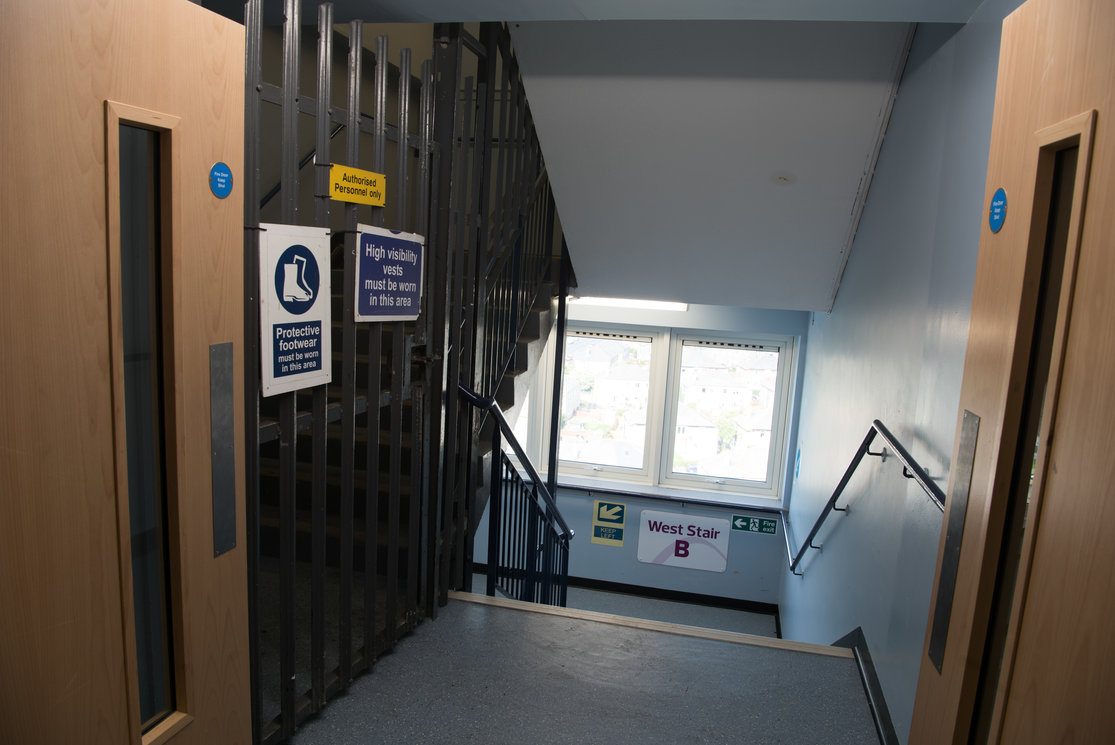 Cardonald stairwell with metal gates gallery
