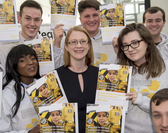Shirley-Anne Somerville with students at the GCRB strategy launch