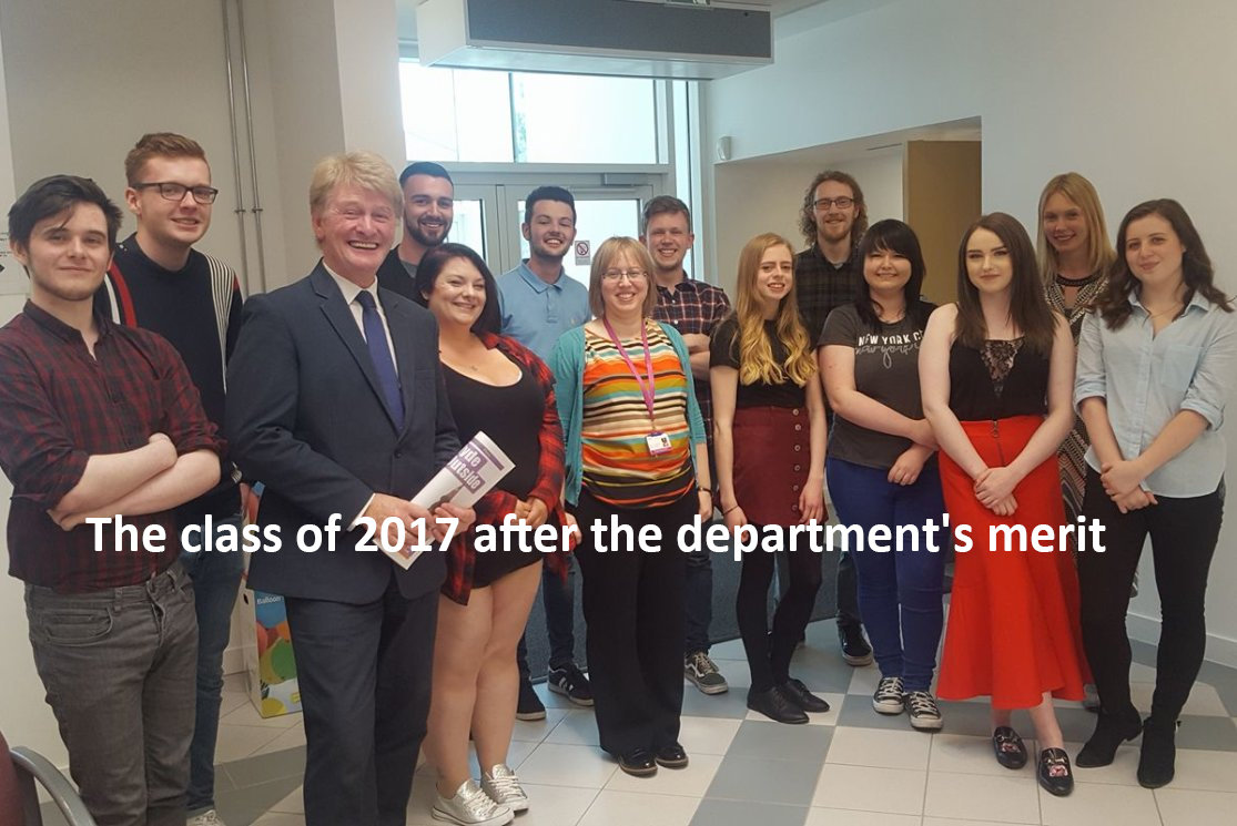 The class of 2017 after the department's merit awards gallery