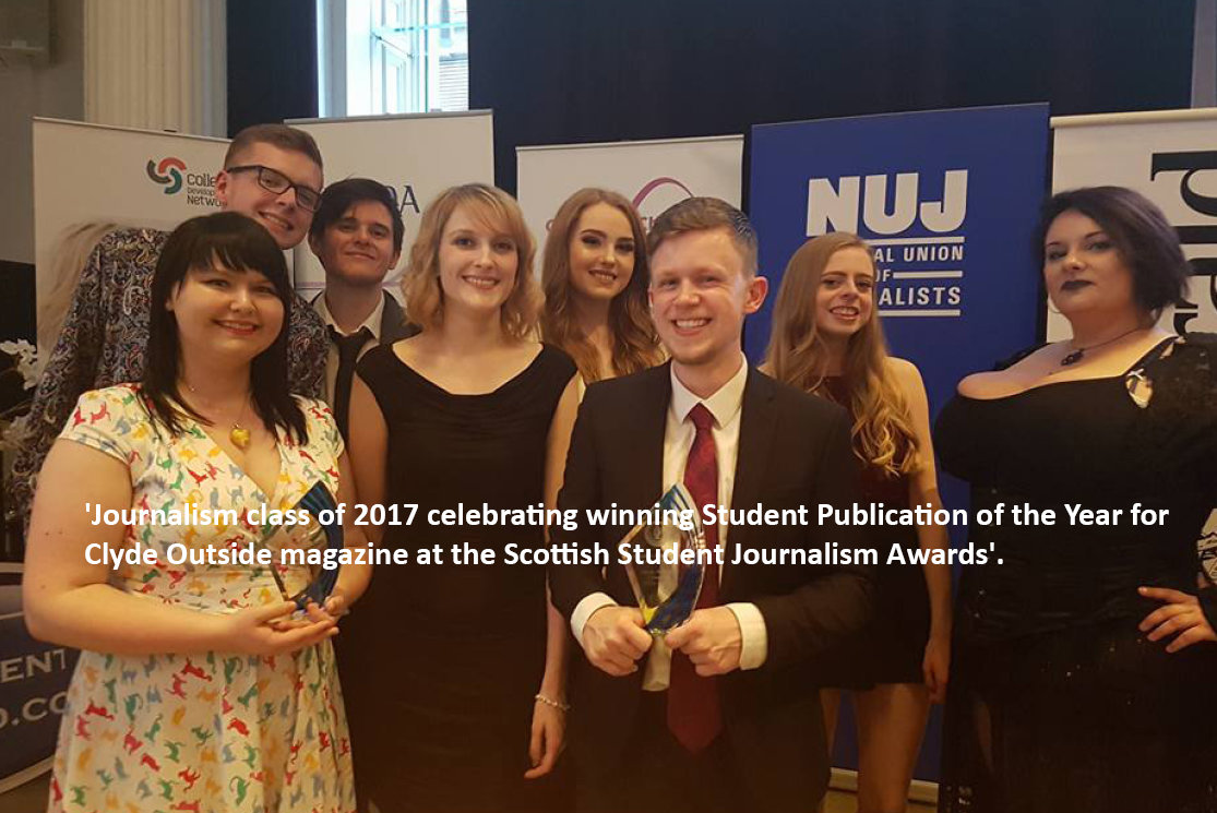 Journalism class of 2017 celebrating winning student publication of the year for clyde outside magazine at the scottish student journalism awards gallery