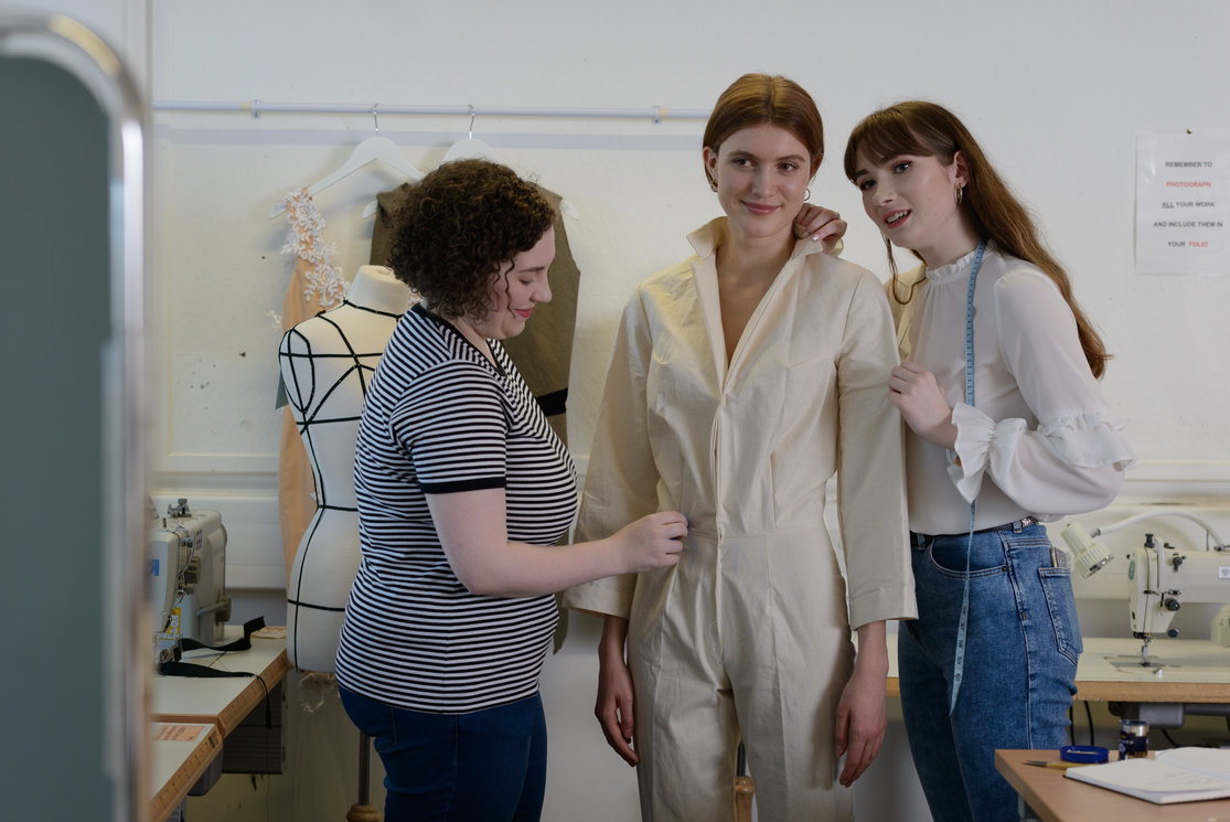 Hnd textiles year 2   2 female students with model measuring up   image 4 gallery